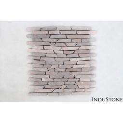 COCO BROWN INTERLOCK brązowe PASKI CALI mozaika kamienna na siatce INDUSTONE