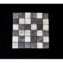 WHITE & GREY SQUARE weiß, grau KOSTKA 5x5 quadratisch mosaik naturstein INDUSTONE