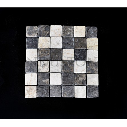 WHITE & GREY SQUARE white, grey CUBIC 5x5 mosaic on a plastic grid INDUSTONE