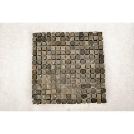 GREY SQUARE grey CUBIC 1,7x1,7 mosaic on a plastic grid INDUSTONE
