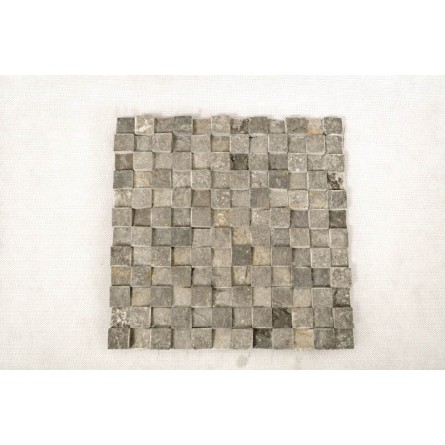 GREY SQUARE 3D white CUBIC 2x2 mosaic on a plastic grid INDUSTONE