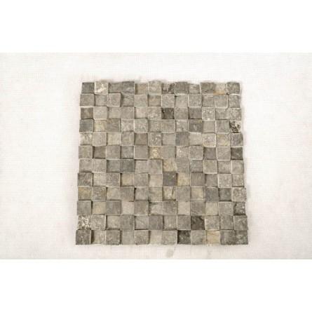 GREY SQUARE 3D biała KOSTKA 2x2 mozaika kamienna na siatce INDUSTONE