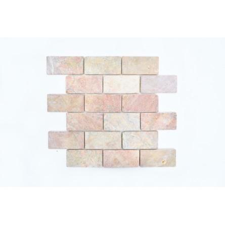 BATAKO PINK ORANGE 4,9x9 mozaika kamienna na siatce INDUSTONE