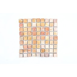 RED SQM SQUARE CUBIC 3x3 mosaic on a plastic grid INDUSTONE