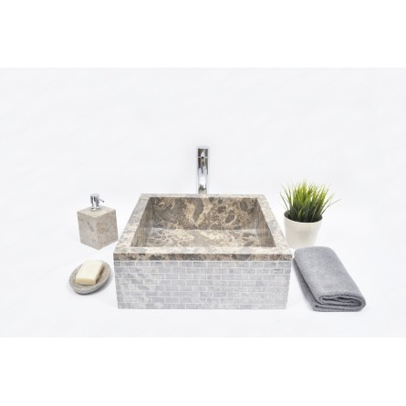 SK-ABT C 40x40x15 GREY wash basin overtop INDUSTONE