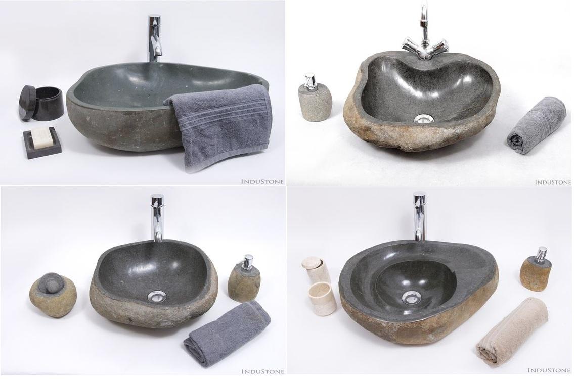 umywalki z kamienia rzecznego InduStone otoczaków