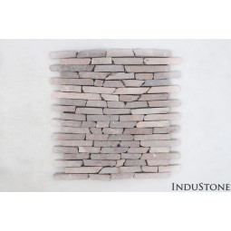 PASKI CALI: * COCO BROWN stone stripes mosaic on a plastic grid INDUSTONE