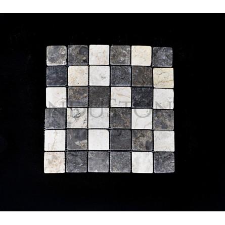 WHITE & GREY SQUARE biało szara KOSTKA 5x5 mozaika kamienna na siatce INDUSTONE