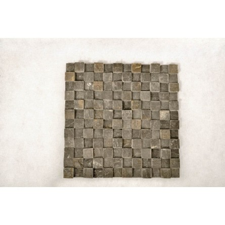 BLACK SQUARE 3D biała KOSTKA 2x2 mozaika kamienna na siatce INDUSTONE