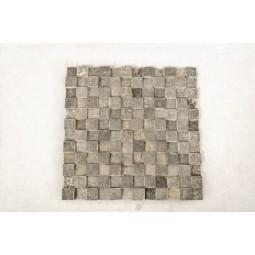 GREY SQUARE 3D szara KOSTKA 2x2 mozaika kamienna na siatce INDUSTONE