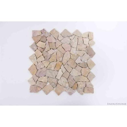MC PINK INTERLOCK różowa ŁAMANA mozaika kamienna na siatce INDUSTONE