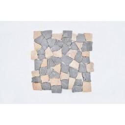 MT MIX GREY & RED INTERLOCK INTERLOCK mosaic on a plastic grid INDUSTONE