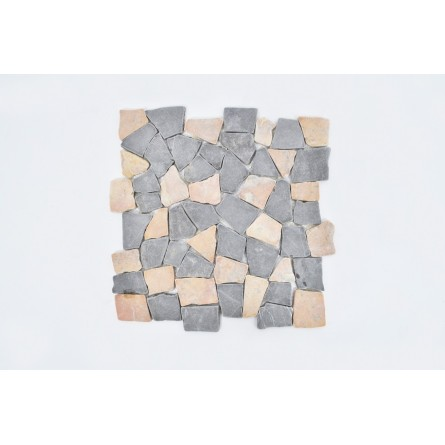 MT MIX GREY & RED INTERLOCK INTERLOCK mosaic on a plastic grid INDUSTONE
