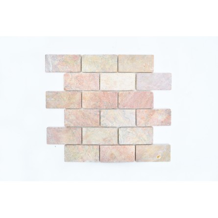 BATAKO PINK ORANGE 4,9x9 mosaic on a plastic grid INDUSTONE