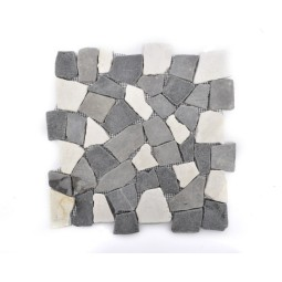 MIX 3: II White-Grey-Black INTERLOCK mosaic on a plastic grid INDUSTONE