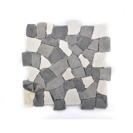 MIX 3: II White-Grey-Black INTERLOCK biała, szara, czarna ŁAMANA mozaika kamienna na siatce INDUSTONE