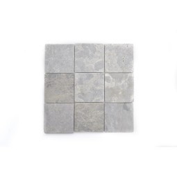 Grey SQUARE CUBIC 10x10 mosaic on a plastic grid INDUSTONE