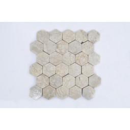 HEXAGONALNA WHITE kremowa mozaika kamienna INDUSTONE