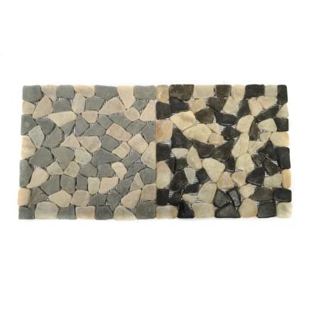 ONYX/GREY SQUARE bursztynowa ŁAMANA mozaika kamienna na siatce INDUSTONE