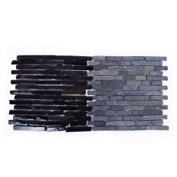 GREY SUMBA INTERLOCK grey PASKI CALI stone stripes mosaic on a plastic grid INDUSTONE