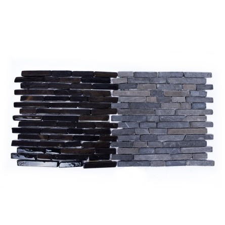 PASKI CALI: *GREY Sumba stone stripes mosaic on a plastic grid INDUSTONE