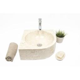 FAN CORNER CREAM D 40x15 cm kamienna umywalka nablatowa narożna INDUSTONE