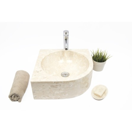 FAN CORNER CREAM D 40x15 cm wash basin overtop INDUSTONE