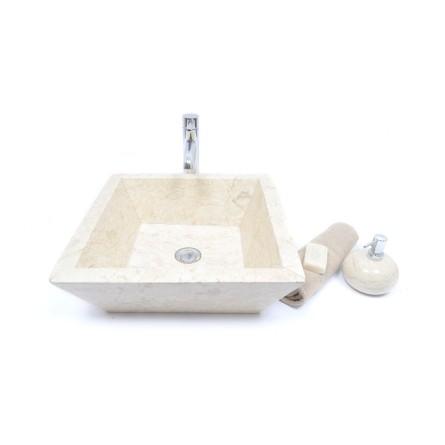 KKL-P CREAM A 45 cm Stein Waschbecken Aufsatzwaschbecken INDUSTONE