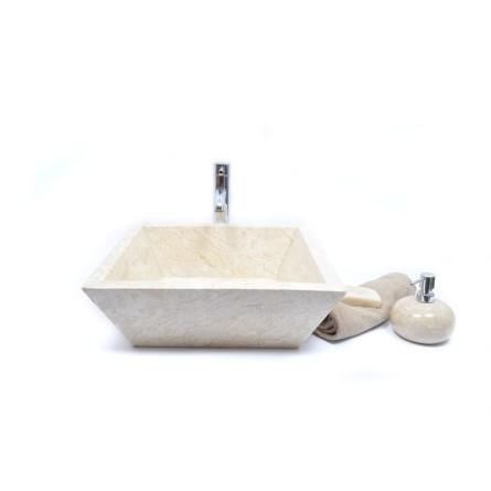 KKL-P CREAM C 45 cm Stein Waschbecken Aufsatzwaschbecken INDUSTONE