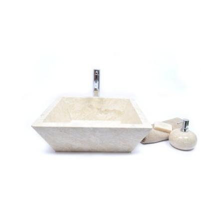 KKL-P CREAM E 45 cm Stein Waschbecken Aufsatzwaschbecken INDUSTONE