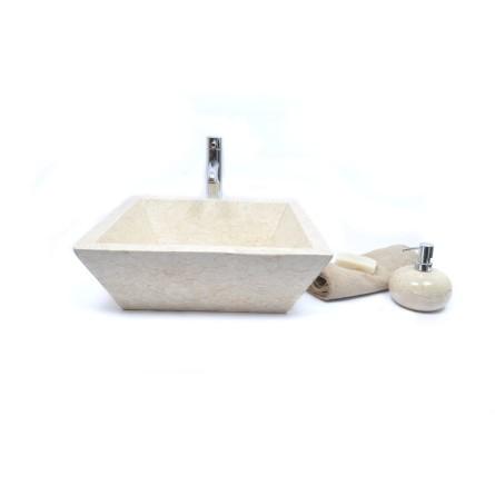 KKL-P CREAM H 45 cm Stein Waschbecken Aufsatzwaschbecken INDUSTONE