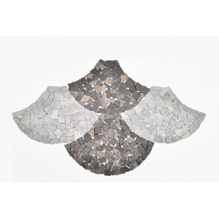 MT Grey FAN grey mosaic on a plastic grid INDUSTONE