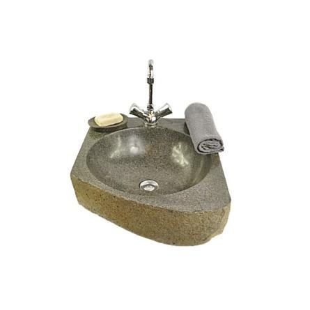 RIVER STONE TRANGAN MEDIUM C kamienna umywalka nablatowa z otworem na baterię INDUSTONE