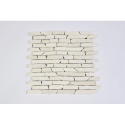 PASKI CALI: *WHITE Sumba stone stripes mosaic on a plastic grid INDUSTONE