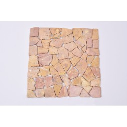 ŁAMANA SQUARE :RED Sumbawa mosaic on a plastic grid INDUSTONE