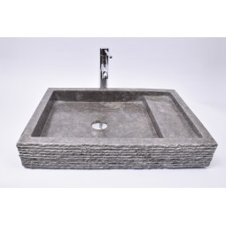 KOTAK TRAP Grey 60x42x10 R9 wash basin overtop INDUSTONE