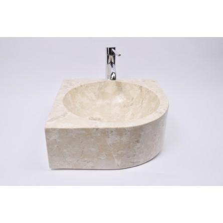 FAN CORNER CREAM G2 40x15 cm Stein Waschbecken Aufsatzwaschbecken INDUSTONE