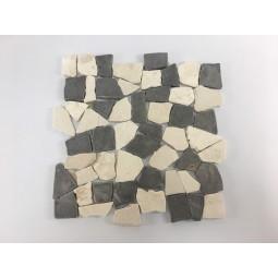ŁAMANA: * MIX 2: WHITE/GREY MT (WHITE) mosaic on a plastic grid INDUSTONE