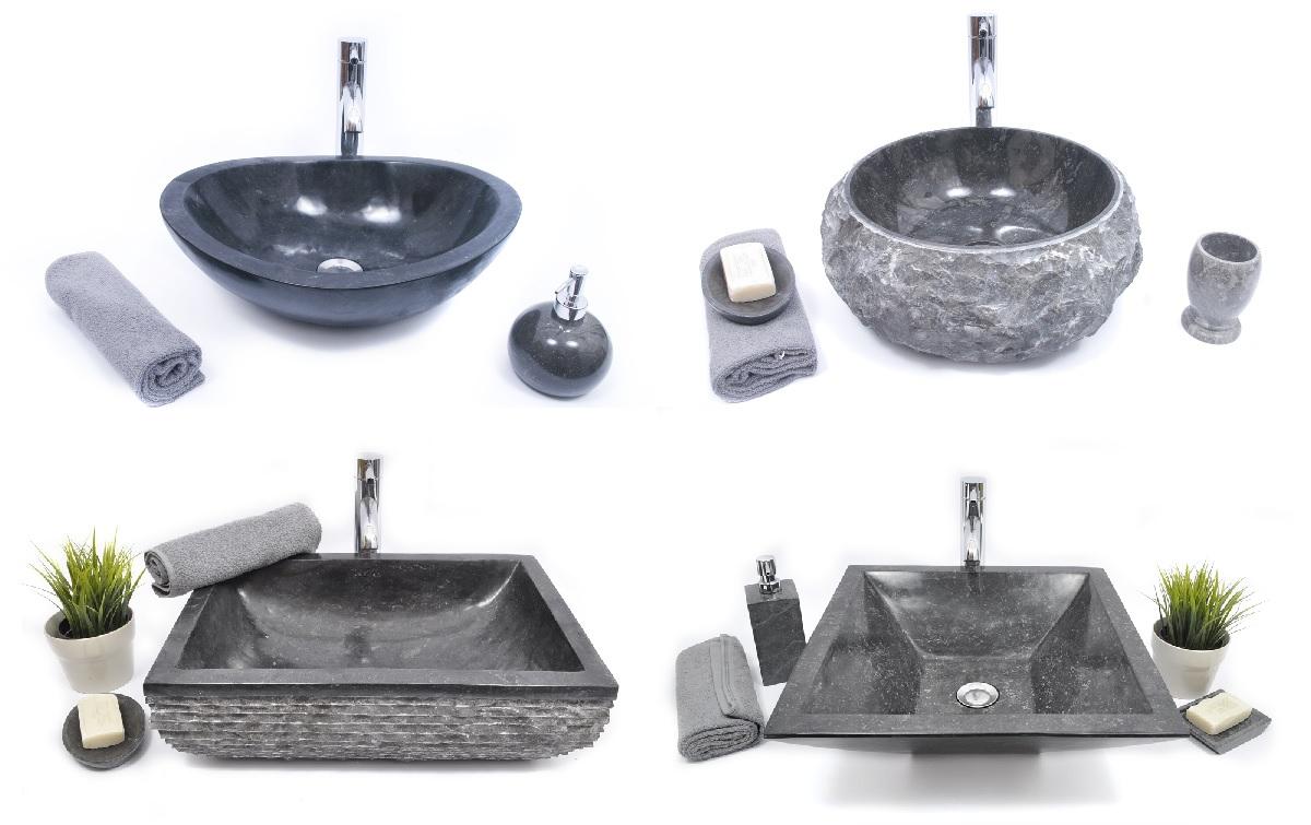 czarna umywalka z kamienia nablatowa InduStone łazienka dozownik