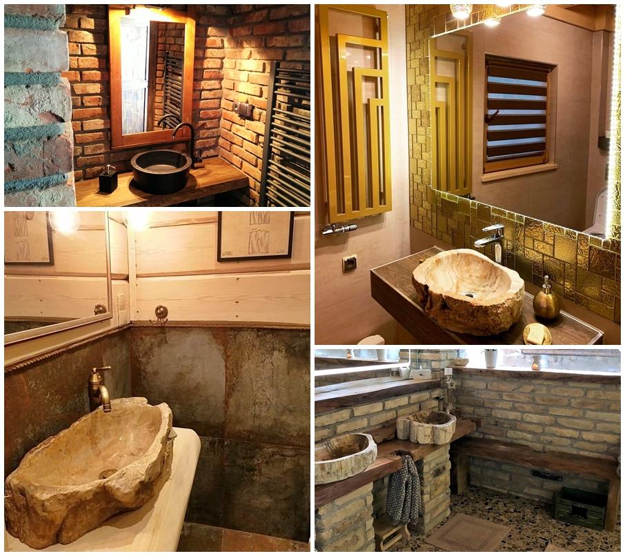 industone aranżacje klientów z wykorzystaniem umywalek nablatowych i blatow drewnianych w lazience