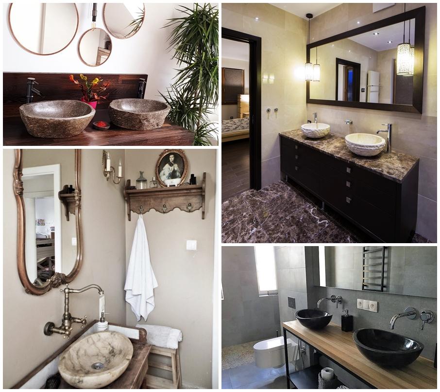 aranżacje łazienek, umywalki nablatowe InduStone