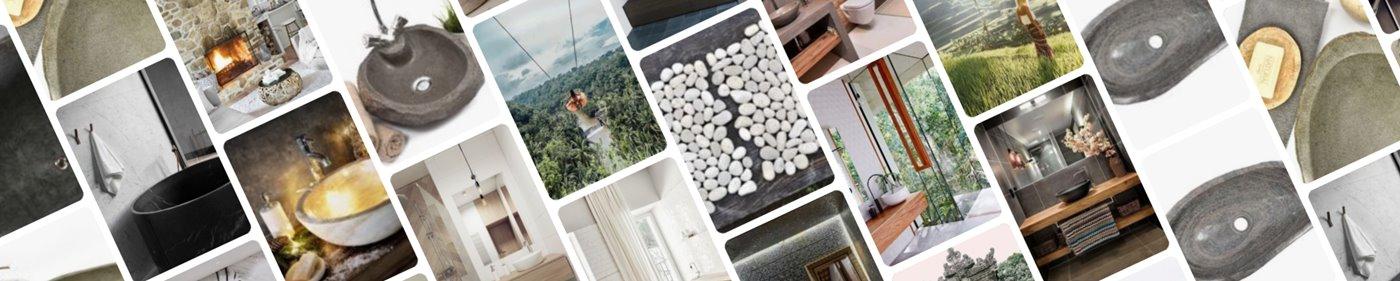 mix produktów InduStone; mozaika kamienna i umywalki kamienne w aranżacjach